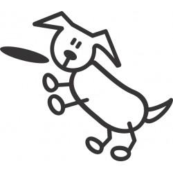 The Sticker Family - Perro con Frisbee D1